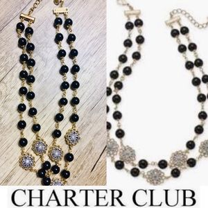 CHARTER CLUB Gold, Crystal Flower & Black Necklace